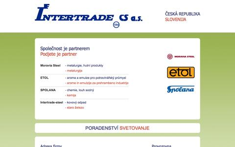 Screenshot of Home Page intertradecs.cz - Intertrade CS a.s. - captured Oct. 6, 2014