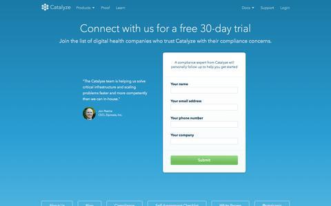 Screenshot of Trial Page catalyze.io - Get started on the Catalyze Platform free for 30 days   Catalyze.io - captured Dec. 17, 2014