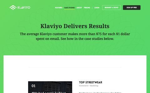 Screenshot of Case Studies Page klaviyo.com - Klaviyo - captured Nov. 23, 2015