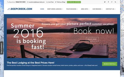 Screenshot of Home Page deepcreek.com - Deep Creek Lake Vacation Planning Guide - captured Feb. 10, 2016