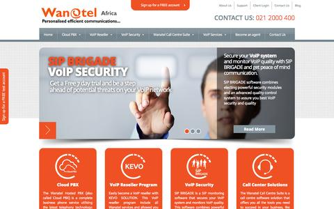 Screenshot of Home Page wanatel.co.za - Wanatel | Personalised efficient communications - captured Oct. 7, 2014