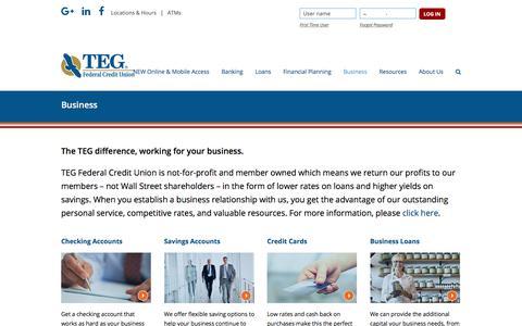 Screenshot of tegfcu.com - Business – TEG Federal Credit Union - captured Dec. 2, 2017