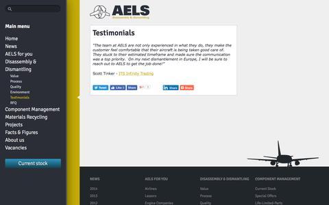 Screenshot of Testimonials Page aels.nl - Testimonials - AELS - captured Nov. 19, 2016