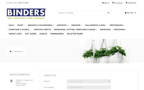 Screenshot of Contact Page bindersart.com - Contact us - captured Oct. 7, 2019