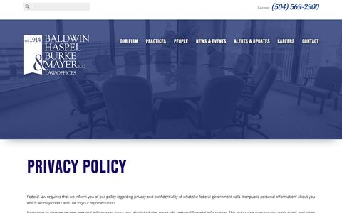 Screenshot of Privacy Page bhbmlaw.com - Privacy Policy - Baldwin, Haspel, Burke & Mayer - captured Feb. 7, 2016