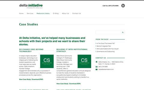 Screenshot of Case Studies Page deltainitiative.com - Case Studies | Delta Initiative - captured Oct. 8, 2018