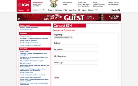 Screenshot of Contact Page ign.com - Contact the Editorial Staff - IGN - captured Sept. 17, 2014