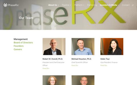 Screenshot of About Page Team Page phaserx.com - Management - PhaseRx - captured July 3, 2016
