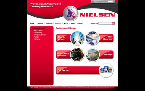 Screenshot of Products Page nielsenchemicals.com - Products | Automotive Car Cleaning Products, Valeting Care Products & Janitorial, Workshop, Interior and Retail Range of Products | Nielsen Chemicals - captured Jan. 12, 2016