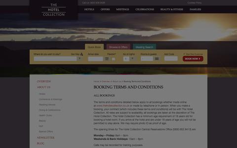 Screenshot of Terms Page thehotelcollection.co.uk - Booking Terms and Conditions - The Hotel Collection - captured Oct. 26, 2014