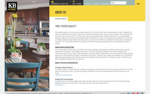 Screenshot of About Page kbhome.com - Our Time-Tested History of Quality | KB Home - captured Sept. 24, 2014