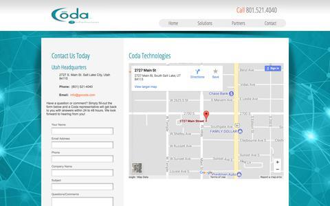 Screenshot of Contact Page gocoda.com - Contact - captured Aug. 12, 2017