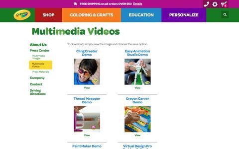 Screenshot of Press Page crayola.com - Multimedia Videos | crayola.com - captured June 2, 2017