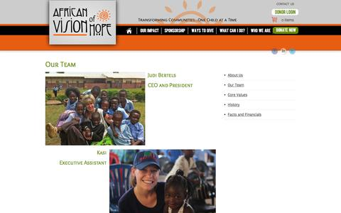 Screenshot of Team Page africanvisionofhope.org - Our Team - African Vision of Hope - captured Sept. 30, 2014