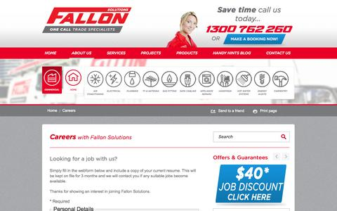 Screenshot of Jobs Page fallonsolutions.com.au - Careers with Fallon Solutions | Employment Application - captured Oct. 5, 2014