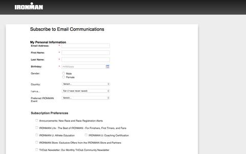 Screenshot of Landing Page ironman.com captured Oct. 29, 2016