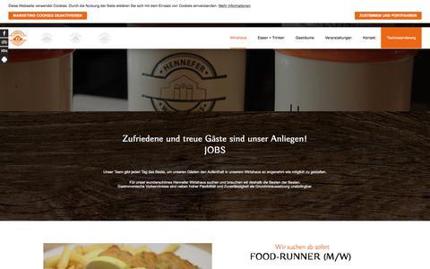 Screenshot of Jobs Page henneferwirtshaus.de - Jobangebote - Hennefer Wirtshaus - captured July 18, 2018