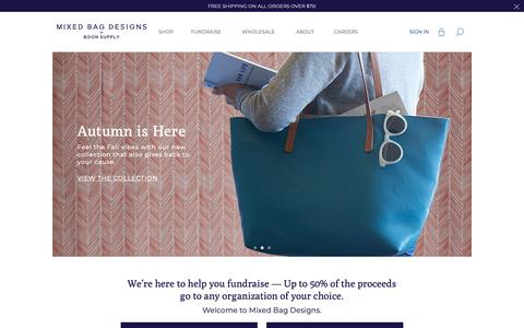 Screenshot of Home Page mixedbagdesigns.com - Great Online Fundraising & Raising Money Ideas For Schools & Team | Reusable Shopping Bags & Insulated Lunch Bags | Mixed Bag Designs - captured Oct. 20, 2018