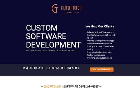 Screenshot of Landing Page glowtouch.com - Custom Software Development | GlowTouch - captured June 25, 2016
