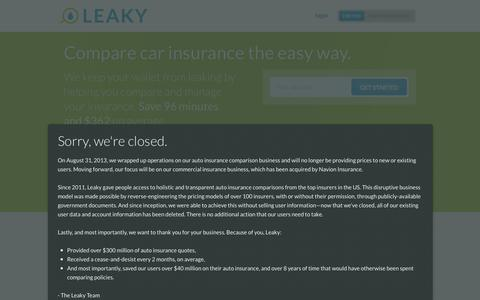 Screenshot of Privacy Page leaky.com - Leaky: Compare car insurance the easy way. - captured Sept. 16, 2014