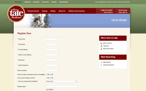 Screenshot of Signup Page allentate.com - Allen Tate Real Estate - 1st to Know Real Estate Search Service - captured Dec. 4, 2018