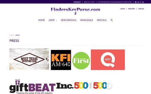 Screenshot of Press Page finderskeypurse.com - Press – Finders Key Purse - captured Sept. 19, 2018