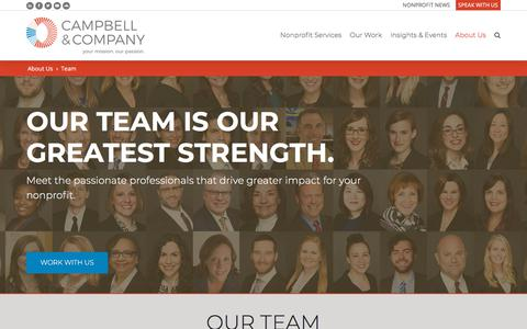 Screenshot of Team Page campbellcompany.com - Nonprofit Consultants - Campbell & Company - captured July 15, 2018