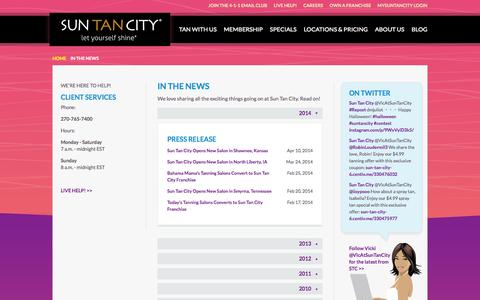 Screenshot of Press Page suntancity.com - Sun Tan City in News Articles and Press Releases - captured Oct. 27, 2015