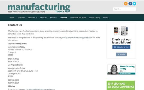 Screenshot of Contact Page manufacturing-today.com - Contact - Manufacturing Today - captured Jan. 1, 2017