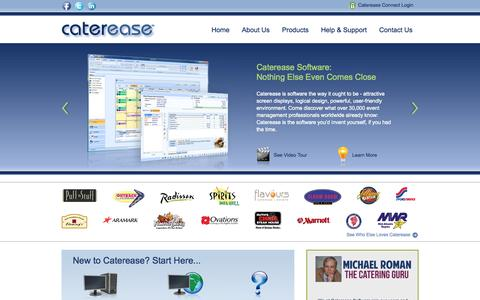 Screenshot of Home Page caterease.com - Custom Catering Software Programs and Event Management Software from Caterease | 800.863.1616 - captured Sept. 24, 2014