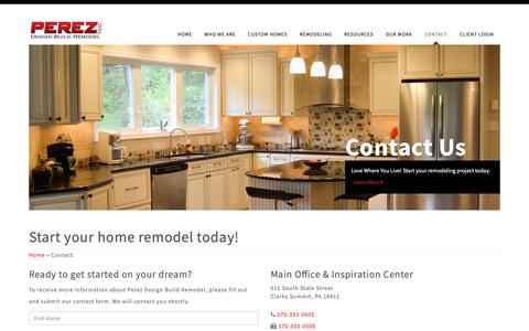 Screenshot of Contact Page perezdbr.com - Perez Design Build Remodel | Start your home remodel today! - captured Sept. 27, 2018