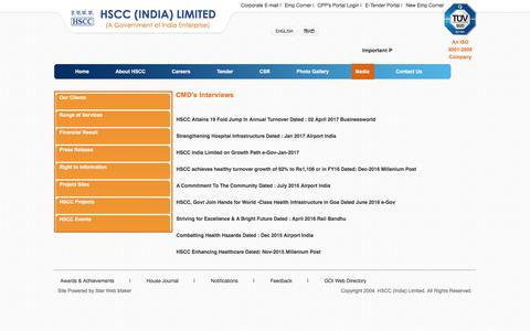 Screenshot of Press Page hsccltd.co.in - CMD's Interviews - captured July 10, 2017