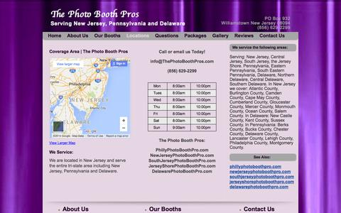 Screenshot of Locations Page thephotoboothpros.com - Coverage in New Jersey, Pennsylvania, Delaware, Maryland - captured Jan. 12, 2016
