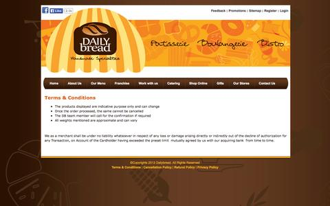 Screenshot of Terms Page dailybread.co.in - Terms & Conditions | Daily Bread - captured Oct. 5, 2014