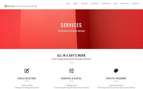 Screenshot of Services Page premiercg.com - PCG   Services - captured Nov. 11, 2016
