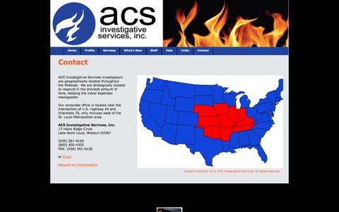 Screenshot of Contact Page firecause.com - Contact ACS Investigative Services - captured Feb. 4, 2016