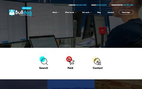 Screenshot of Case Studies Page bulldogdigitalmedia.co.uk - Digital Marketing Case Studies - Bulldog Digital Media - captured Oct. 7, 2018