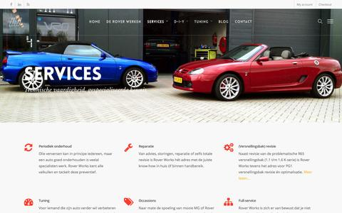 Screenshot of Services Page roverworks.nl - Services: onderhoud, reparatie, tuning & optimalisatie   Rover Works - captured Jan. 11, 2016