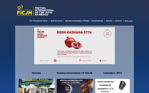 Screenshot of Home Page ficj.org - Festival Internacional de Cine Judío   FICJ - captured Sept. 8, 2015