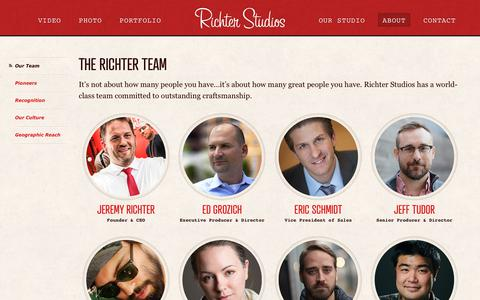 Screenshot of Team Page richterstudios.com - The Richter Studios Team | Richter Studios - captured Sept. 20, 2018