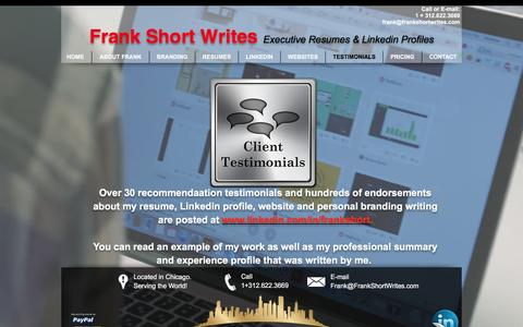 Screenshot of Testimonials Page frankshortwrites.com - 30 Testimonials on Linkedin ... - captured Aug. 4, 2016