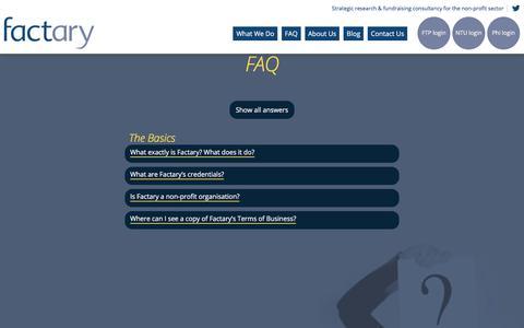 Screenshot of FAQ Page factary.com - FAQ - Factary - Factary - captured Aug. 12, 2018