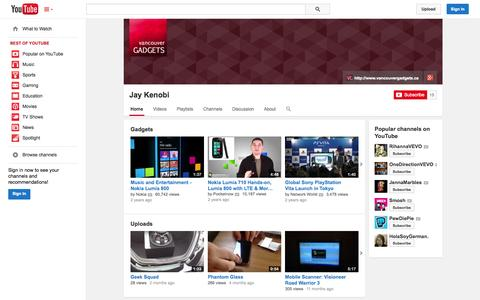 Screenshot of YouTube Page youtube.com - Jay Kenobi  - YouTube - captured Oct. 29, 2014