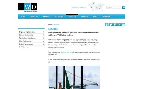 Screenshot of Services Page twd.nl - Temporary Works Design - Services - We offer the full range of design and engineering services and are 24/7 available for your emergency calls - captured Oct. 7, 2014