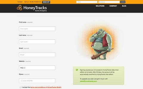 Screenshot of Signup Page honeytracks.com - Register –  HoneyTracks – Game Analytics - captured Sept. 25, 2014