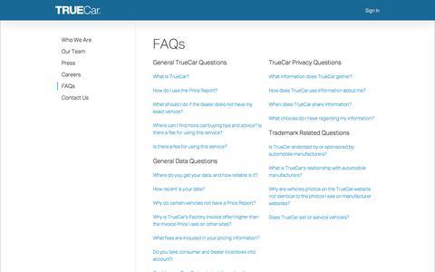 Screenshot of FAQ Page truecar.com - TrueCar - captured April 30, 2018