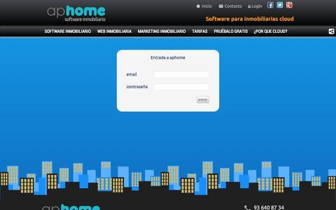 Screenshot of Login Page aphome.es - aphome | Software inmobiliario - captured Nov. 2, 2014