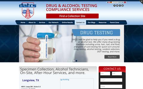 Screenshot of Locations Page datcs.com - Specimen Collection, Alcohol Technicians, On-Site, After-Hour Services, and more. - captured Nov. 24, 2016