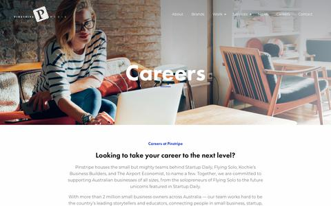 Screenshot of Jobs Page pinstripemedia.com.au - Careers at Pinstripe Media - Business and Finance Media Specialists - captured Oct. 13, 2018