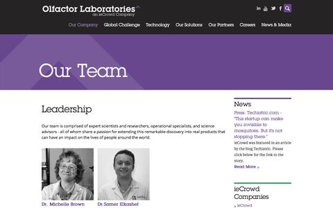 Screenshot of Team Page olfactorlabs.com - Our Team | Olfactor Labs - captured Nov. 5, 2014